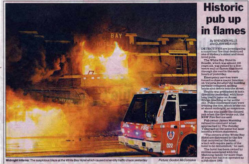 White Bay Hotel Fire Press Clippings